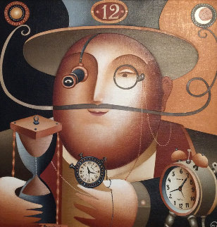 Time Keeper 2000 21x21 Original Painting - Anton Arkhipov