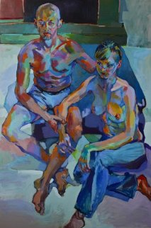 A Night Before Breakup 2010 72x48 Original Painting - Piotr Antonow