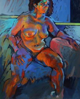 Nude in Natural And Artificial Light 2012 40x32 Super Huge Original Painting - Piotr Antonow