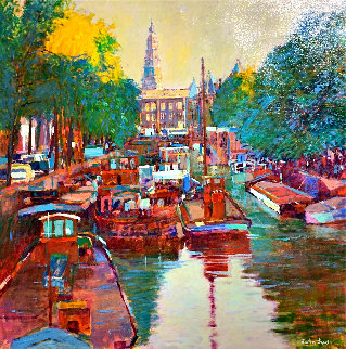 Amsterdam Canal Scene 42x42 Original Painting by Anton Sipos