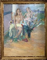 Untitled Portrait of Two Nude Women 74x62 Super Huge Original Painting by Anton Sipos - 1