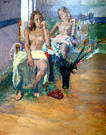 Untitled Portrait of Two Nude Women 74x62 Super Huge Original Painting by Anton Sipos - 0