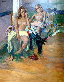 Untitled Portrait of Two Nude Women 74x62 Original Painting - Anton Sipos