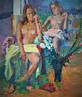 Untitled Portrait of Two Nude Women 74x62 Super Huge Original Painting by Anton Sipos - 3
