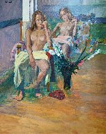 Untitled Portrait of Two Nude Women 74x62 Super Huge Original Painting by Anton Sipos - 2