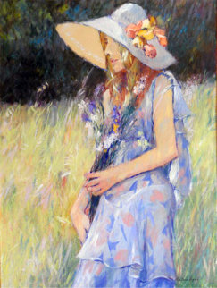 Untitled Young Girl With Hat 1970 49x39 Original Painting - Anton Sipos