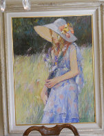Untitled Young Girl With Hat 1970 49x39 Super Huge Original Painting by Anton Sipos - 1