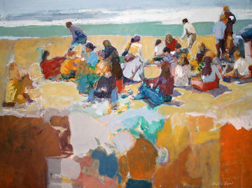 At the Beach 1973 30x40  Huge Original Painting - Anton Sipos