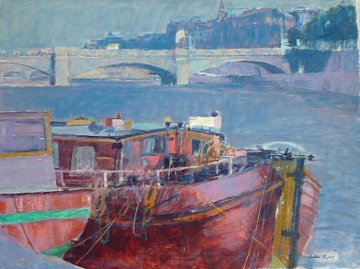 Boat on the Seine River Paris 30x40 Super Huge Original Painting - Anton Sipos