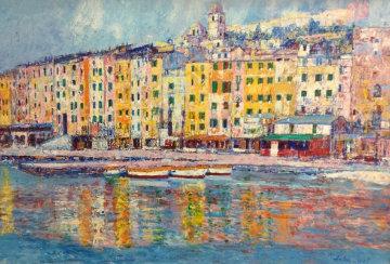 Porto Venere, Italy 1984 37x49 Super Huge Original Painting - Anton Sipos