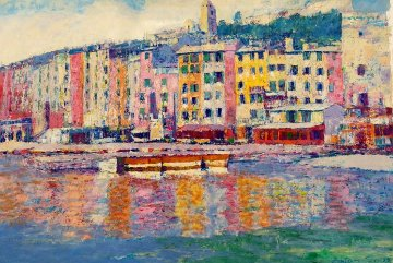 Portofino Harbor, Italy 30x40 Super Huge Original Painting - Anton Sipos