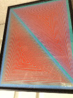 Double Expanding Triangle With Green And Blue Borders 1950 Limited Edition Print by Richard Anuszkiewicz - 3