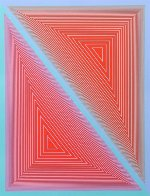 Double Expanding Triangle With Green And Blue Borders 1950 Limited Edition Print by Richard Anuszkiewicz - 0