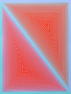 Double Expanding Triangle With Green And Blue Borders 1950 Limited Edition Print - Richard Anuszkiewicz