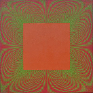 Green Edged Light Red Oxide 1980 48x48 Huge Original Painting - Richard Anuszkiewicz
