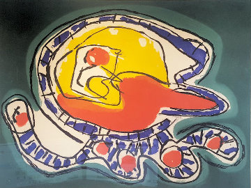 Large Green Etching 1976 Limited Edition Print by Karel Appel