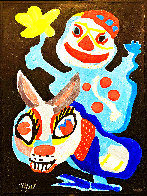 Clown Holding Yellow Flower Astride A Burro Limited Edition Print by Karel Appel - 1