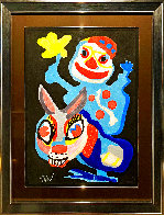 Clown Holding Yellow Flower Astride A Burro Limited Edition Print by Karel Appel - 2