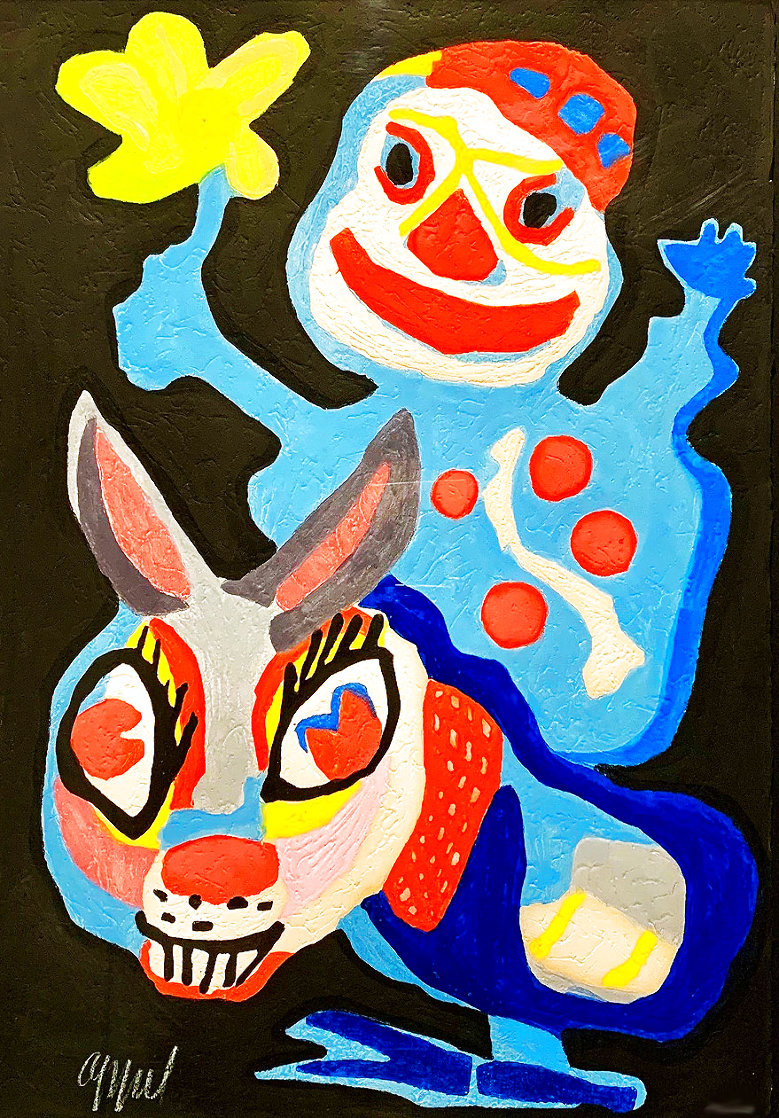 Clown Holding Yellow Flower Astride A Burro Limited Edition Print by Karel Appel