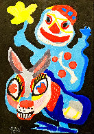 Clown Holding Yellow Flower Astride A Burro Limited Edition Print by Karel Appel - 0