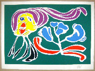Floating Flower Passion (Green) EA 1978 Limited Edition Print by Karel Appel - 1