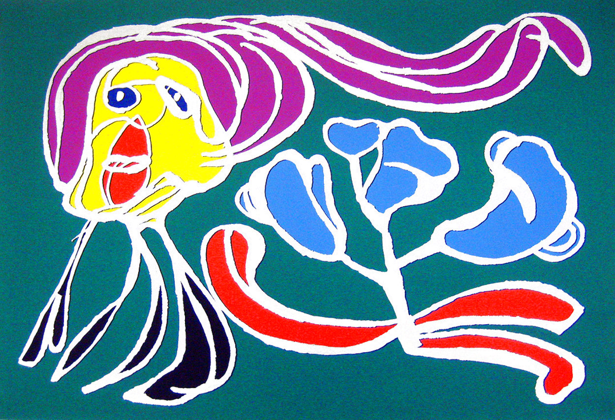 Floating Flower Passion (Green) EA 1978 Limited Edition Print by Karel Appel