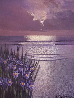 Iris Moonlight 22x18 Original Painting - Andrea Razzauti