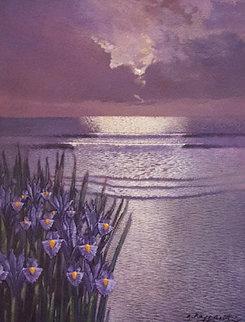 Iris Moonlight 22x18 Original Painting by Andrea Razzauti