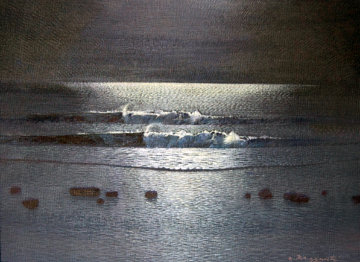 Moonlight Low Tide 12x16 Original Painting - Andrea Razzauti