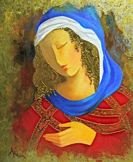 Maiden in Red 24x20 Original Painting by Arbe Berberyan