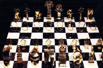 Chess Game (Collaboration Arman And Boisgontier) Bronze and Marble Sculpture 1986 Sculpture by Arman Arman