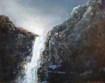 Falls Over Pemberton 2012 22x26 Original Painting - Rosemarie Armstrong
