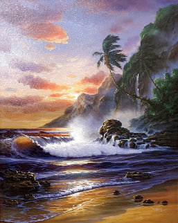 Oahu Sunset 2000 32x26 Original Painting -  Arozi