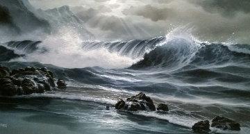 Skylit Wave  42x28 Original Painting -  Arozi