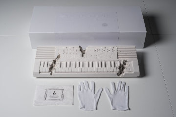 Future Relic 9 (Keyboard) Plaster Sculpture 40x11 Sculpture by Daniel Arsham