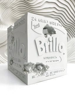 Eroded Brillo Box Blue Resin Sculpture 2020 9 in Sculpture - Daniel Arsham