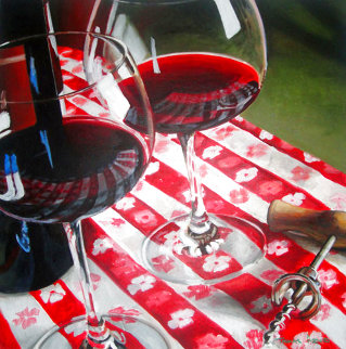 Red Wine is Meant to Be Shared 1996 39x39 Super Huge Original Painting - Thomas Arvid