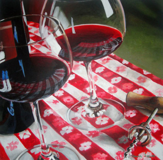 Red Wine Is Meant to Be Shared 1996 39x39 Original Painting by Thomas Arvid