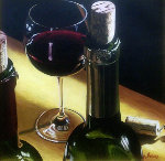 3 Corks, 2 Bottles And One Glass of Wine 1997 40x40 Original Painting - Thomas Arvid