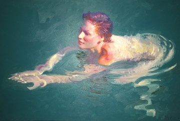 Royal Swim 30x45 Original Painting - John Asaro
