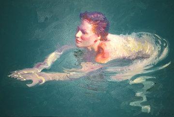 Royal Swim 30x45 Huge Original Painting - John Asaro
