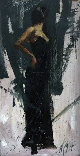Raven Elegance 2005 35x23 Original Painting by Henry Asencio