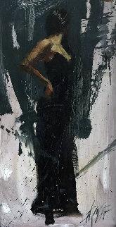 Raven Elegance 2005 35x23 Original Painting - Henry Asencio