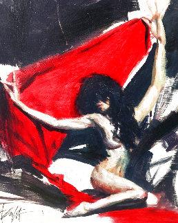 Red Veil PP 2009 Original Painting - Henry Asencio