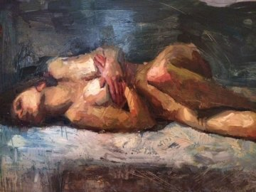 Tranquility 2005 38x60 Original Painting - Henry Asencio