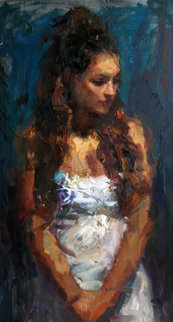 Introspection 2004 41x26 Original Painting - Henry Asencio