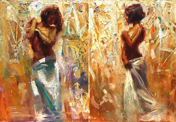 Endeavor and Transition Diptych 2006  40x30 Set of 2 Original Painting - Henry Asencio