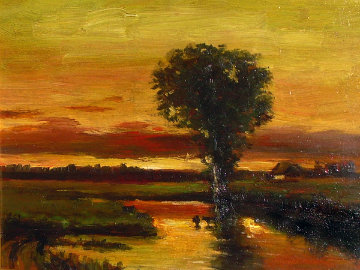 Golden Sunset 1983 16x21 Original Painting by  Ashot