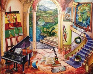 Untitled Staircase 2005 31x35 Original Painting by Alexander Astahov
