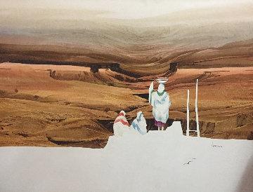 Pueblo Women 1985 30x40 Super Huge Original Painting - Michael Atkinson